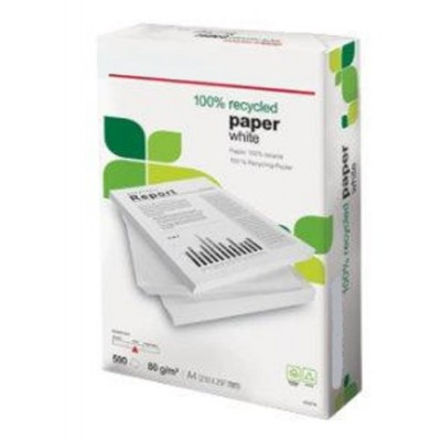 A4 100% Recycled White 80gsm Printer Copier Paper (2500 Sheets)