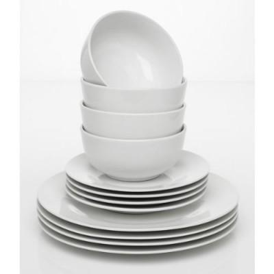 Super Value Brilliant White Porcelain 12 Piece Dinner Dining Set