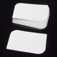 100 Blank White 350gsm Leaf Semi Rounded Corner Flash Cards (54x90mm)